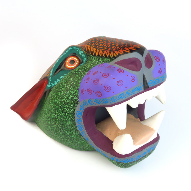 Green & Orange Jaguar Head - Oaxacan Alebrije Wood Carving - VivaMexico.com