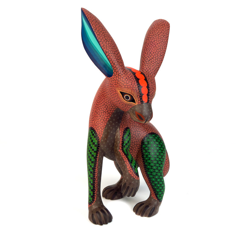 Fine Orange Rabbit - Oaxacan Alebrije Wood Carving - VivaMexico.com
