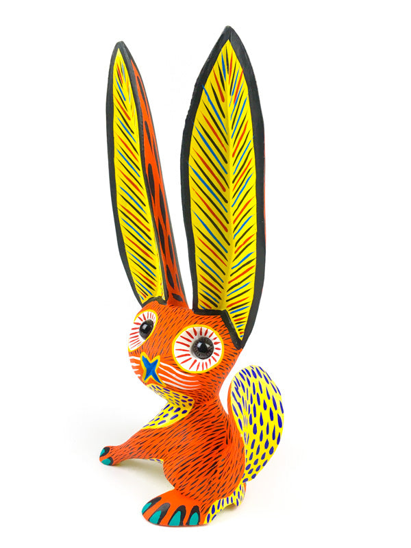 Orange Rabbit - Oaxacan Alebrije Wood Carving - VivaMexico.com