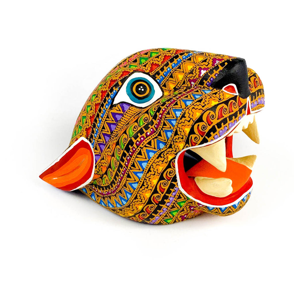 Zapotec Jaguar Head - Oaxacan Alebrije Wood Carving - VivaMexico.com