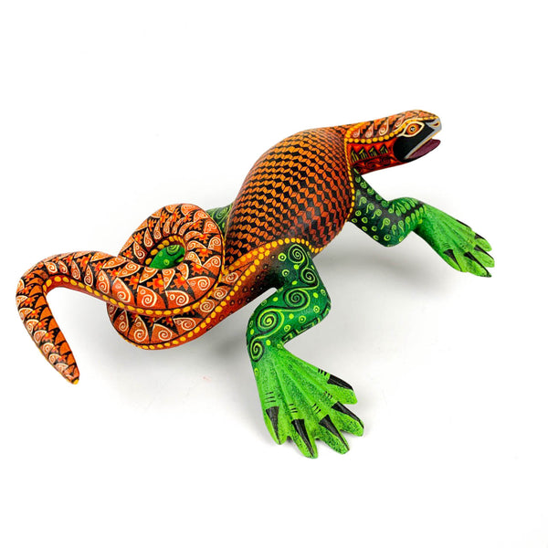 Orange & Green Iguana - Oaxacan Alebrije Wood Carving - Nestor Melchor - VivaMexico.com