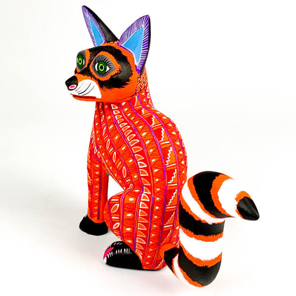 Orange Raccoon - Oaxacan Alebrije Wood Carving