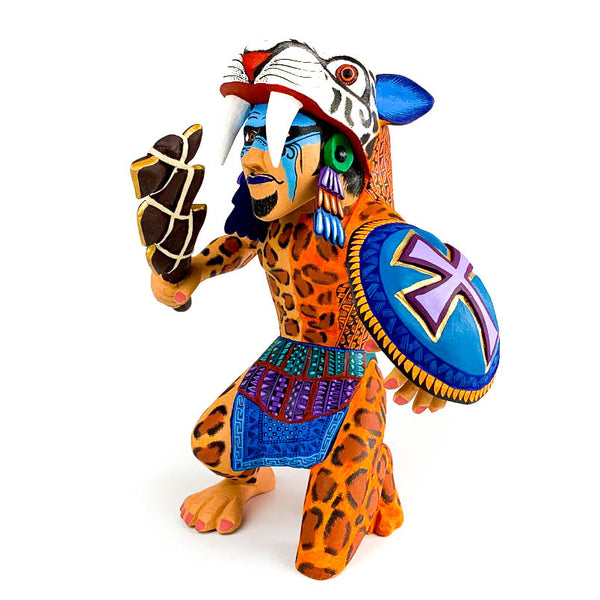 Aztec Warrior - Oaxacan Alebrije Wood Carving - VivaMexico.com