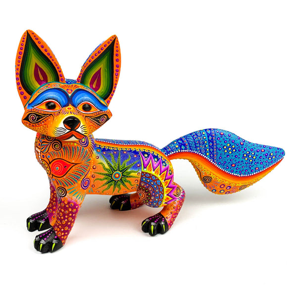 Orange Fox - Oaxacan Alebrije Wood Carving - VivaMexico.com