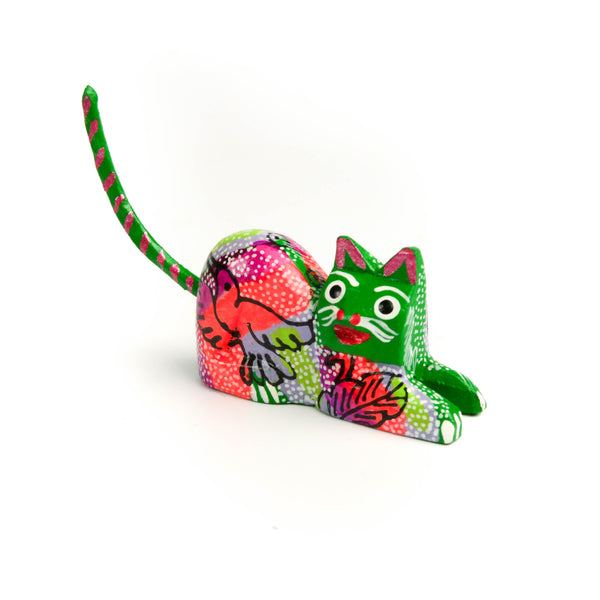 Mini Cat Oaxacan Alebrije Wood Carving Mexican Folk Art Sculpture - VivaMexico.com