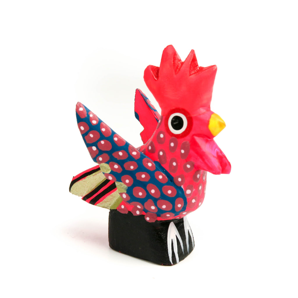 Mini Rooster Oaxacan Alebrije Wood Carving Mexican Folk Art Sculpture - VivaMexico.com