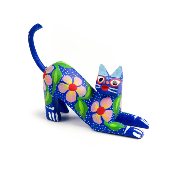 Mini Flower Cat Oaxacan Alebrije Wood Carving Mexican Folk Art Sculpture