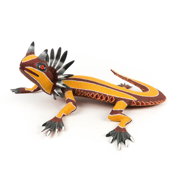 Horned Lizard - Oaxacan Alebrije Wood Carving - Eleazar Morales