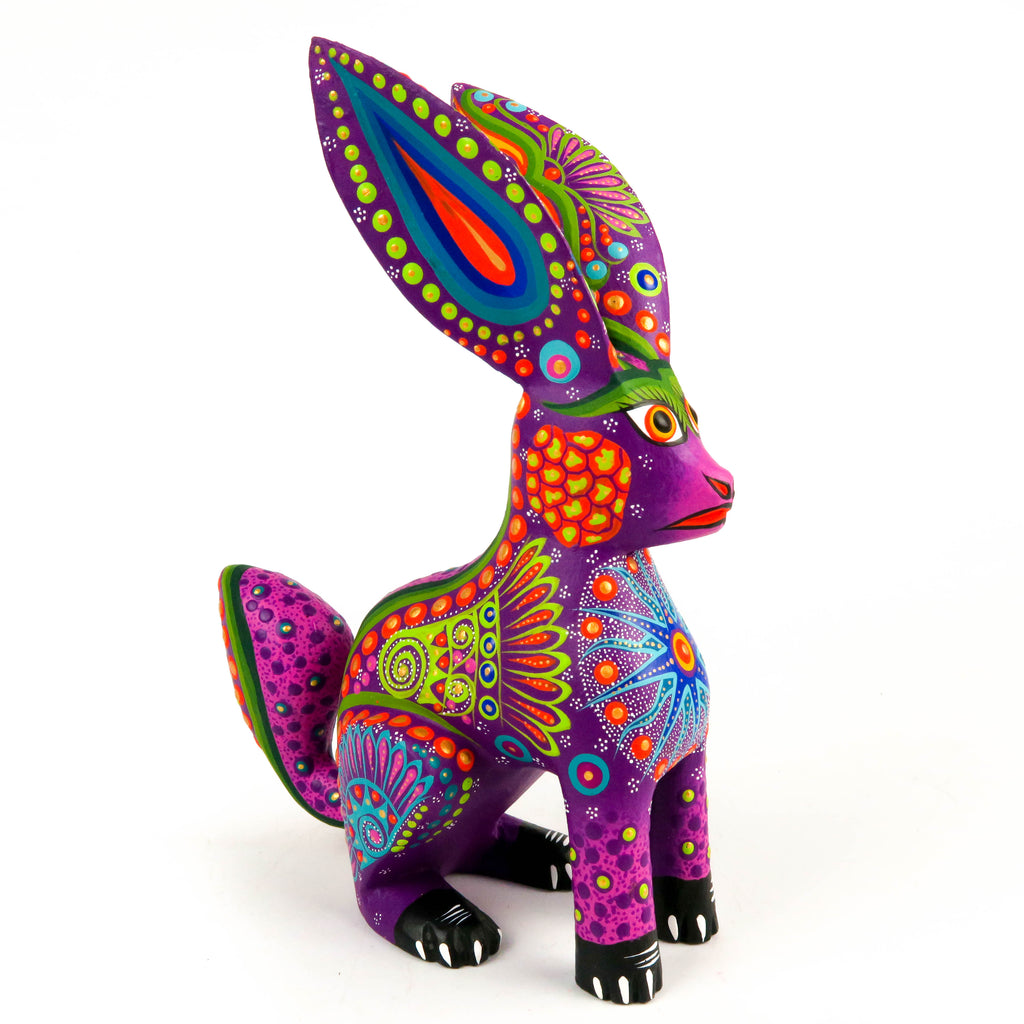 Purple Rabbit - Oaxacan Alebrije Wood Carving Mexican Folk Art Sculpture - VivaMexico.com