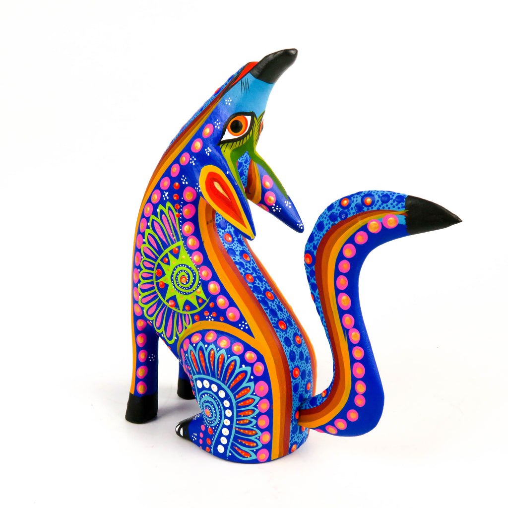 Blue Howling Coyote - Oaxacan Alebrije Wood Carving Mexican Folk Art Sculpture - VivaMexico.com