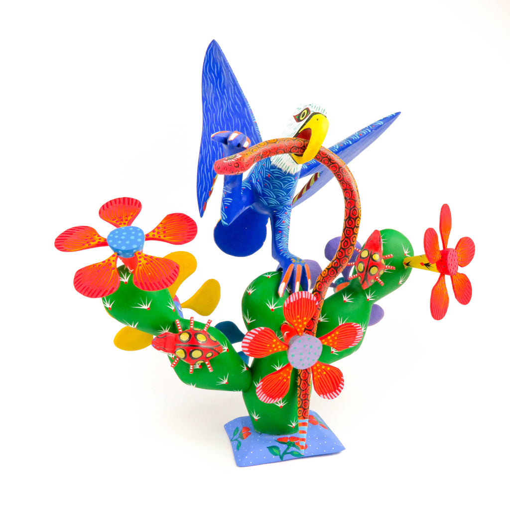 Eagle on Cactus - Oaxacan Alebrije Wood Carving Mexican Folk Art Sculpture - VivaMexico.com