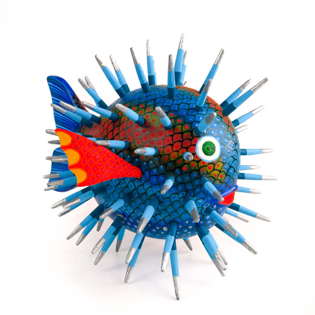 Blue Blowfish - Oaxacan Alebrije Wood Carving - VivaMexico.com