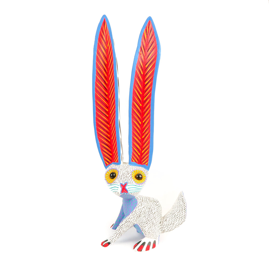 Large Marble Eyed Rabbit - Oaxacan Alebrije Wood Carving - VivaMexico.com