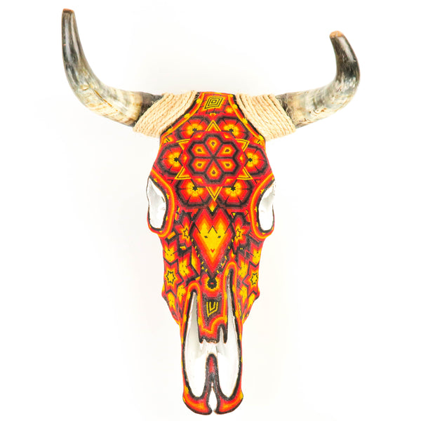 Huichol Beaded Bull Skull Wall Mount Mexican Folk Art (Orange)