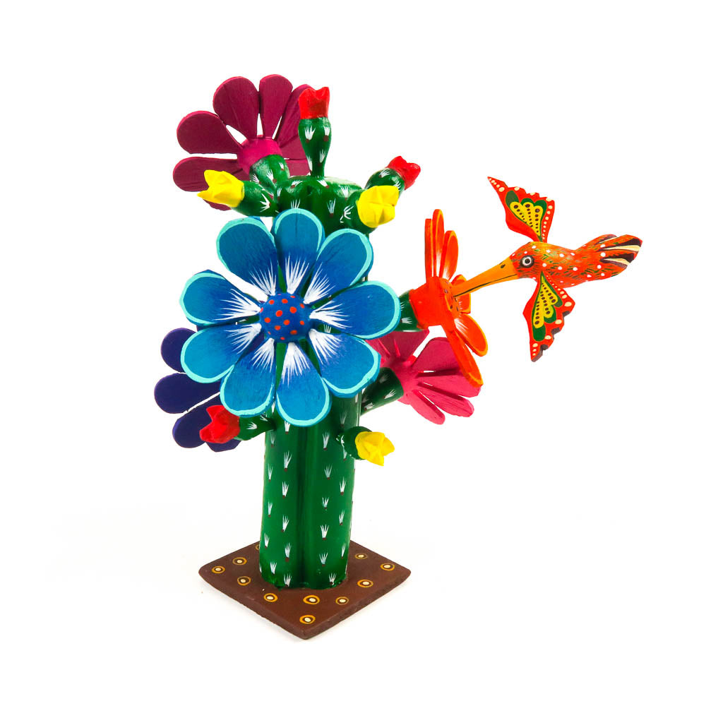 Cactus With Hummingbird - Oaxacan Alebrije Wood Carving - VivaMexico.com