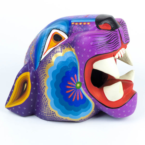 Purple Jaguar Head - Oaxacan Alebrije Wood Carving