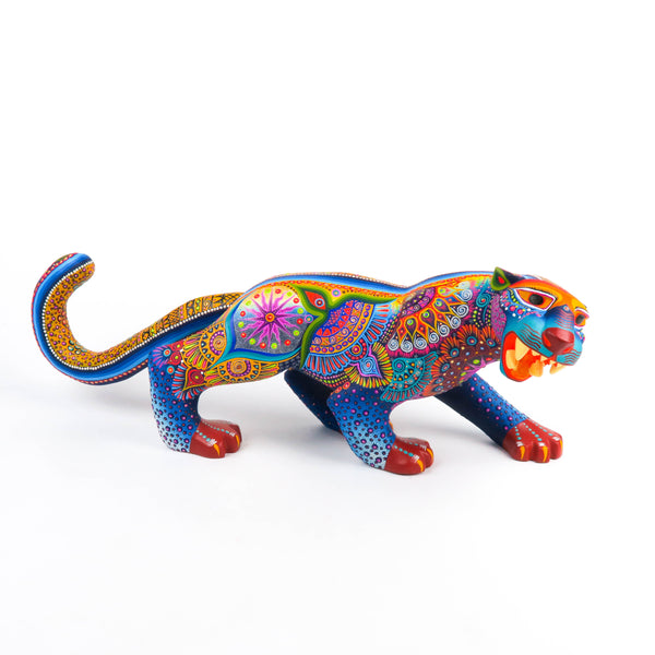 Large Fantastic Jaguar - Oaxacan Alebrije Wood Carving Sculpture - VivaMexico.com