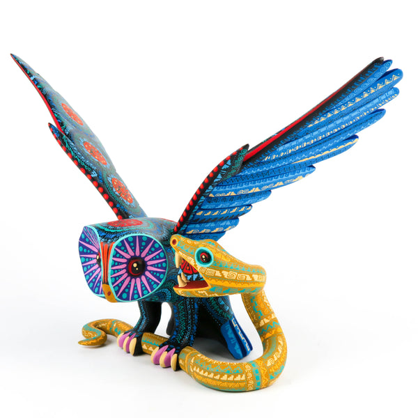Owl vs Snake - Oaxacan Alebrije Wood Carving Sculpture