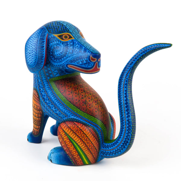 Sitting Dog - Oaxacan Alebrije Wood Carving Sculpture - Nestor Melchor - VivaMexico.com