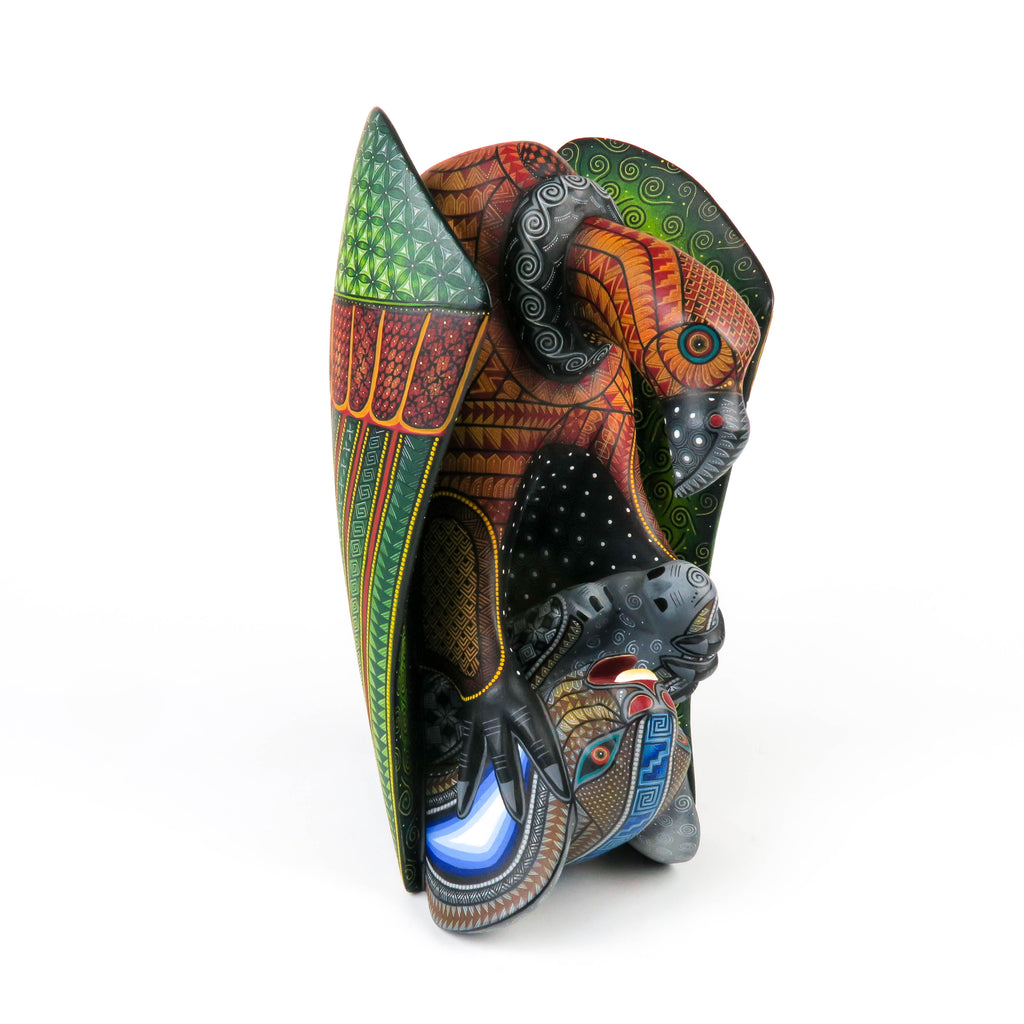 Vulture With Rabbit Prey - Oaxacan Alebrije Wood Carving Sculpture - Nestor Melchor - VivaMexico.com