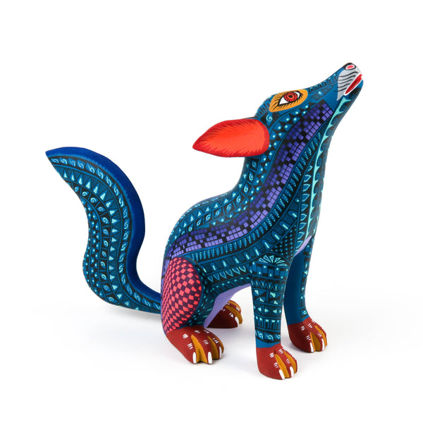 Howling Coyote - Oaxacan Alebrije Wood Carving Sculpture