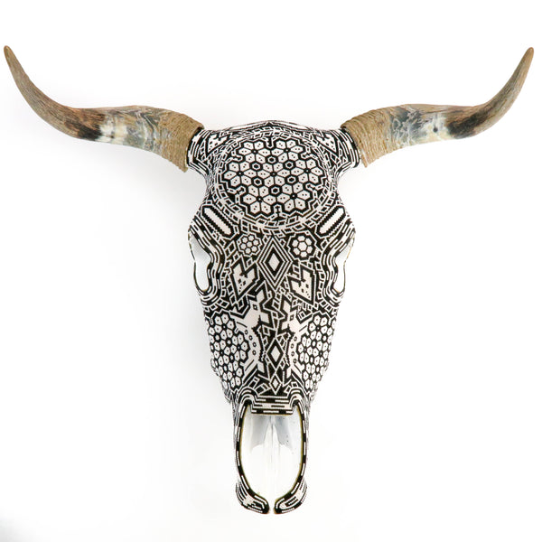 Huichol Beaded Bull Skull Wall Mount Mexican Folk Art
