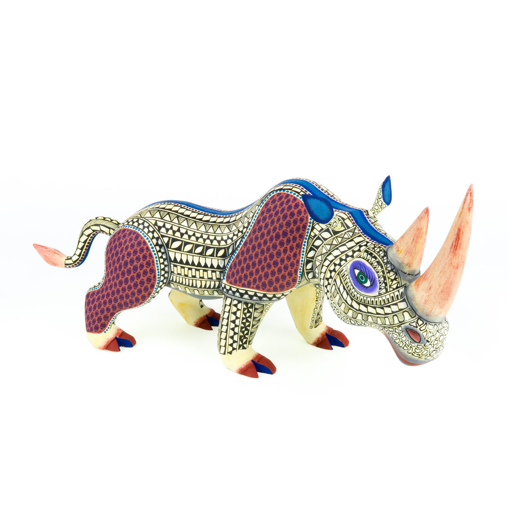 Beautiful Rhinoceros - Oaxacan Alebrije Wood Carving Sculpture - VivaMexico.com