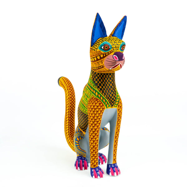 Tall Cat - Oaxacan Alebrije Wood Carving Sculpture