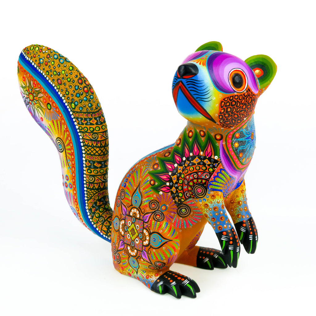 Vibrant Squirrel - Oaxacan Alebrije Wood Carving Sculpture - VivaMexico.com