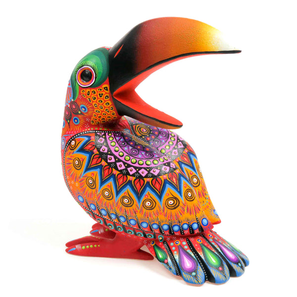 Vibrant Toucan Bird - Oaxacan Alebrije Wood Carving Sculpture - VivaMexico.com