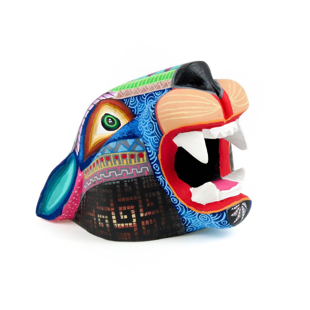Magnificent Jaguar Head - Oaxacan Alebrije Wood Carving - VivaMexico.com