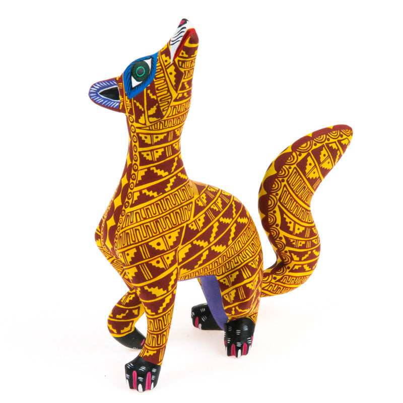 Yellow Fox - Oaxacan Alebrije Wood Carving - VivaMexico.com