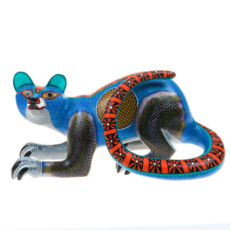 Large Zapotec Cat - Oaxacan Alebrije Wood Carving - VivaMexico.com