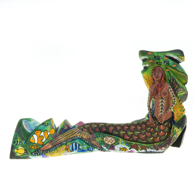 Mermaid - Oaxacan Alebrije Wood Carving - VivaMexico.com