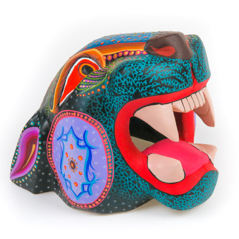 Jaguar Head - Oaxacan Alebrije Wood Carving - VivaMexico.com