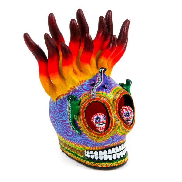 Ceramic Skull With Flames - Mexican Folk Art - VivaMexico.com