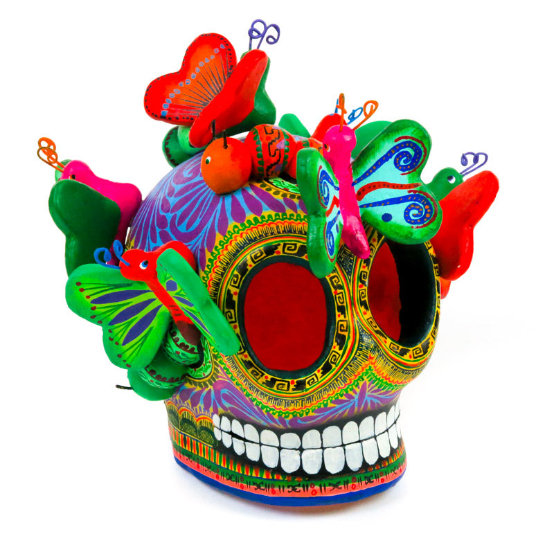 Ceramic Skull With Butterflies - Mexican Folk Art - VivaMexico.com