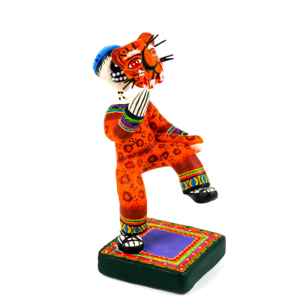 Masked Jaguar Skeleton Dancer (Danzante) - Mexican Folk Art