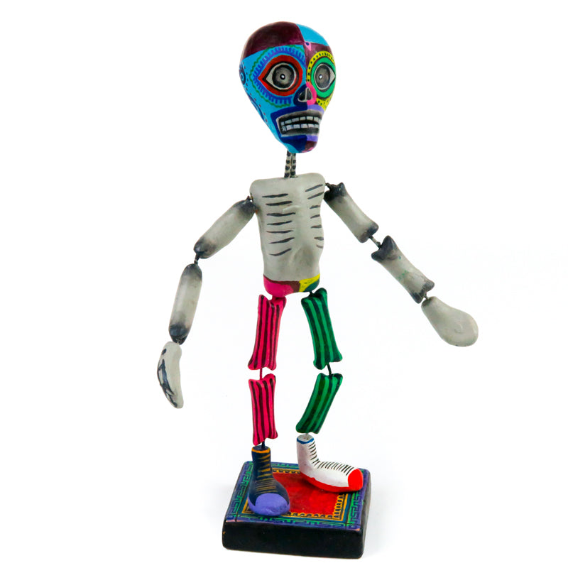 Skeleton Luchador Wrestler - Clay Mexican Folk Art - VivaMexico.com