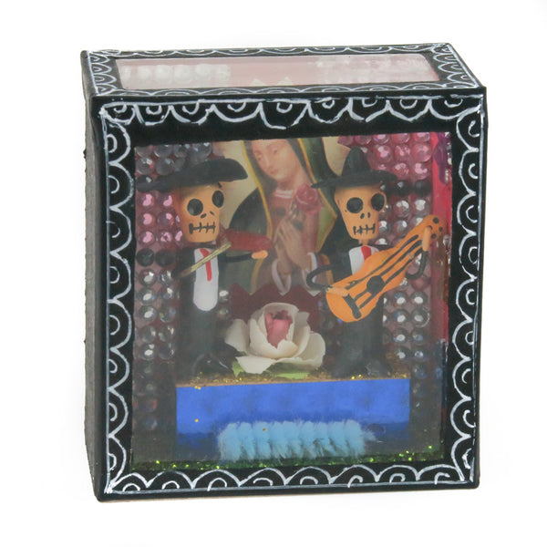 Mariachi Skeletons Retablo Box - Mexican Folk Art
