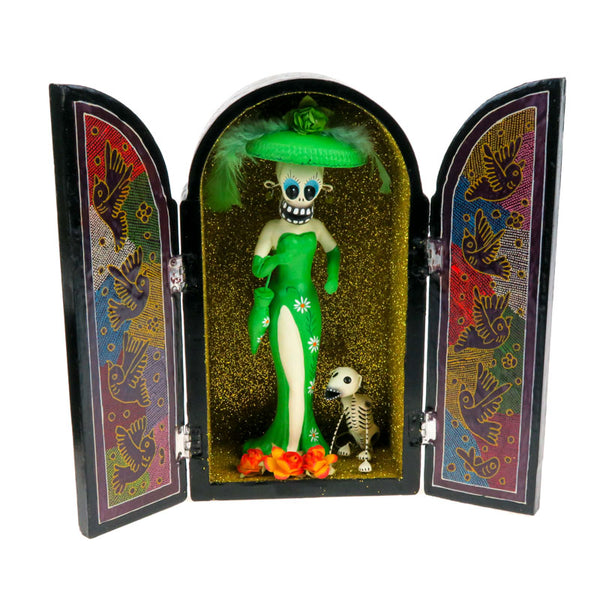 Day of The Dead Catrina Retablo Box - Mexican Folk Art - VivaMexico.com