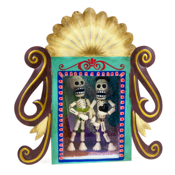 Bridal Couple Tin Retablo Box - Mexican Folk Art - VivaMexico.com