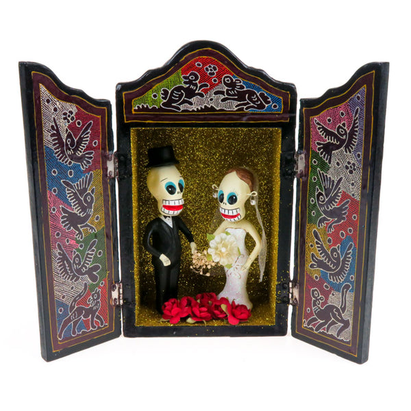Bridal Couple Retablo Box - Mexican Folk Art - VivaMexico.com