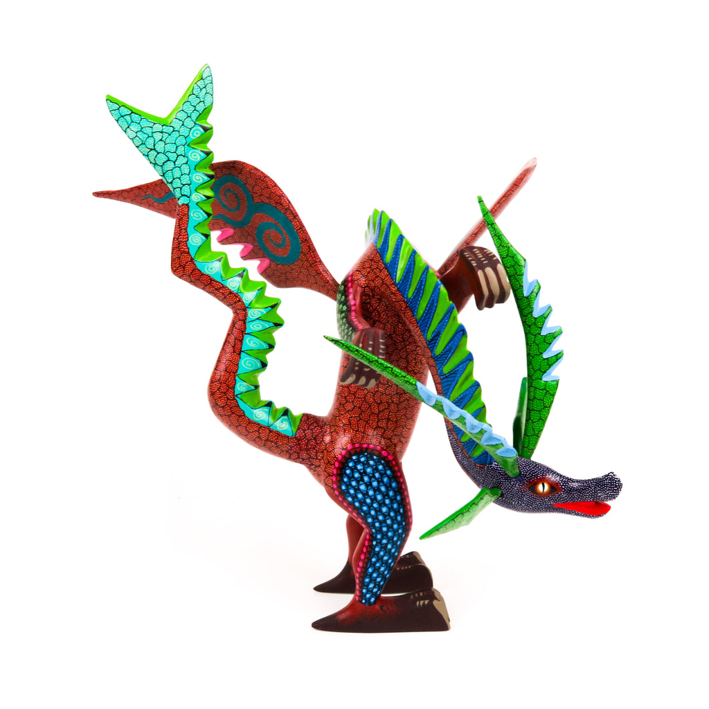 Long Neck Dragon - Oaxacan Alebrije Wood Carving - VivaMexico.com