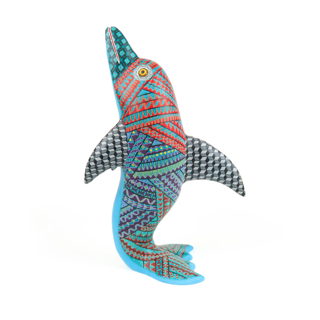 Dolphin - Oaxacan Alebrije Wood Carving - VivaMexico.com