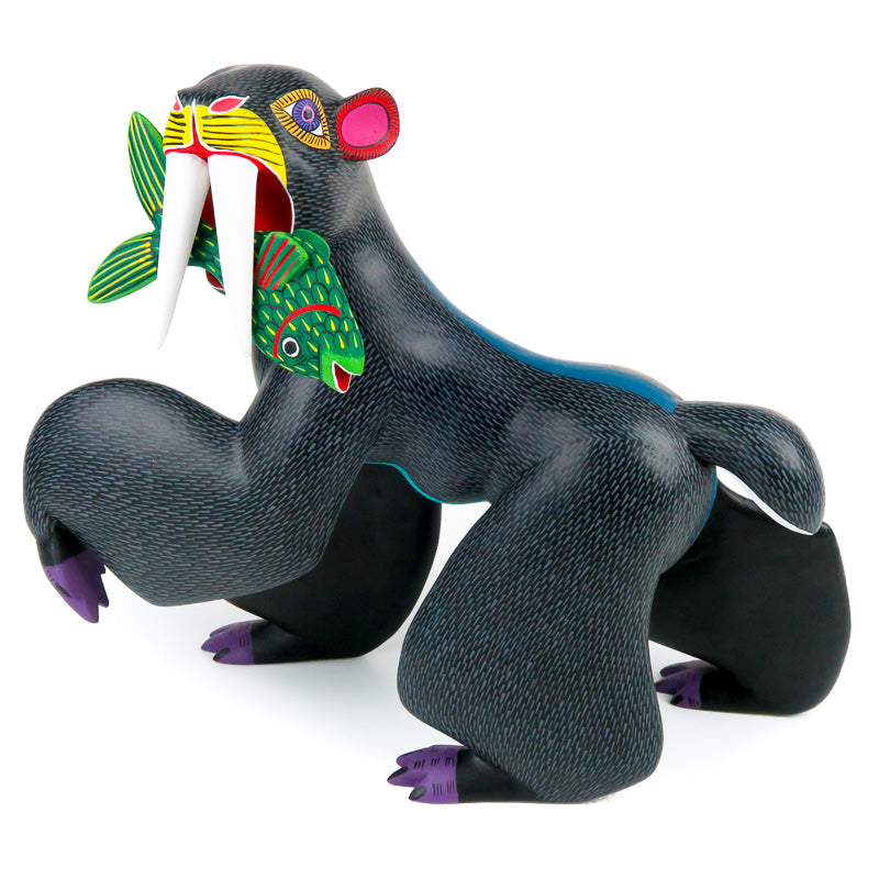 Black Bear With Fish - Oaxacan Alebrije Wood Carving - VivaMexico.com