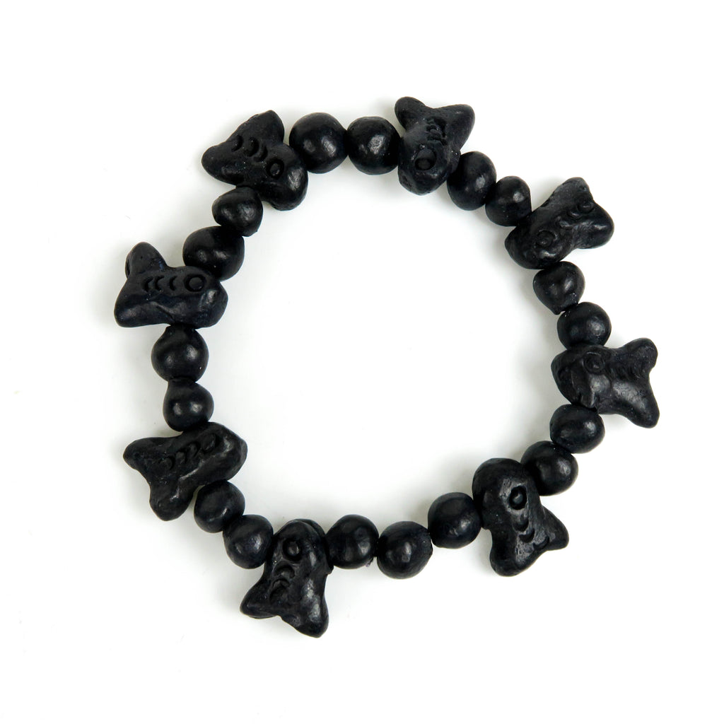 Barro Negro (Mexican Black Clay): Fish Bead Bracelet - VivaMexico.com