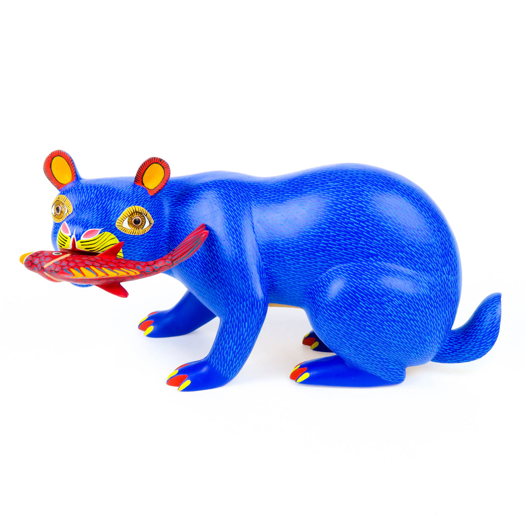 Bear With Fish - Oaxacan Alebrije Wood Carving