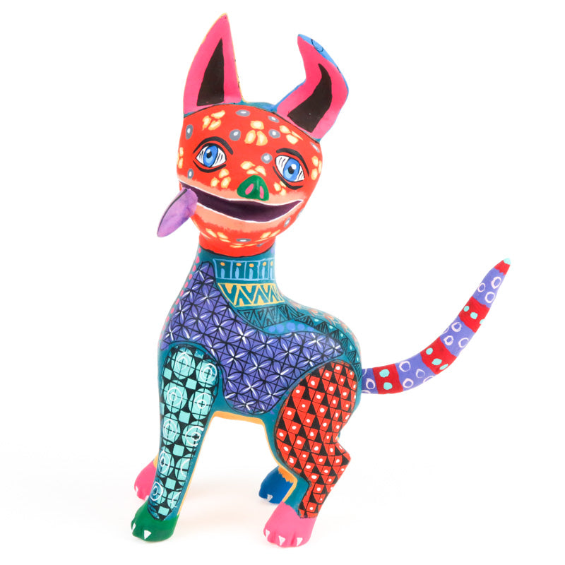 Colorful Dog - Oaxacan Alebrije Wood Carving - Eleazar Morales - VivaMexico.com