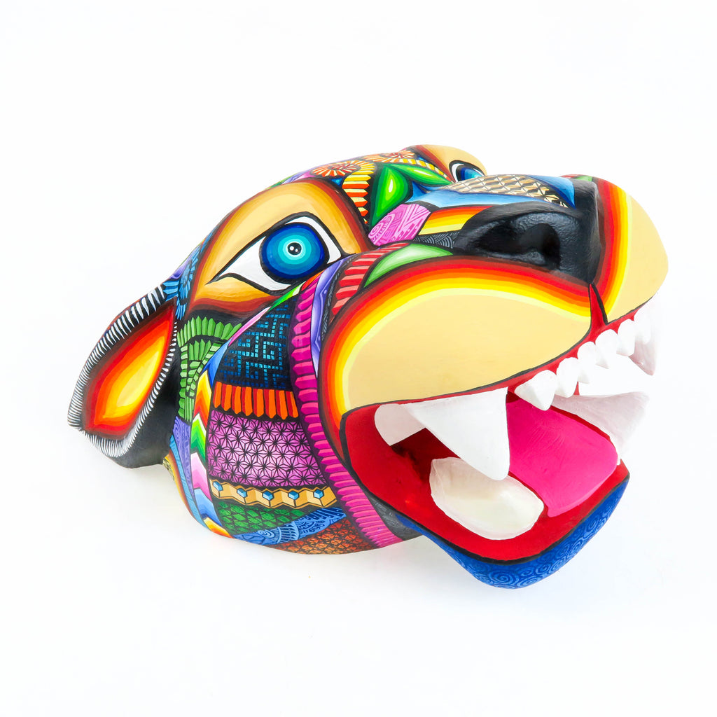 Large Vibrant Jaguar Head - Oaxacan Alebrije Wood Carving